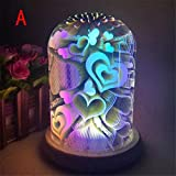 3D Magical Meteor Effect Light XUANOU USB Charging LED Colorful Night Lamp For House Party Decor (LOVE)