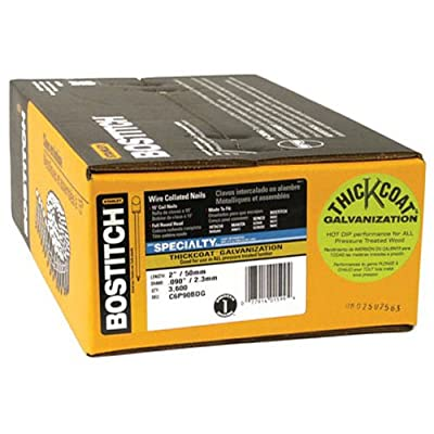 Bostitch C6P90BDG Thickcoat Round Head 2-Inch by .090-Inch 15 Degree Coil Framing Nail (3,600 per Box) by Bostitch