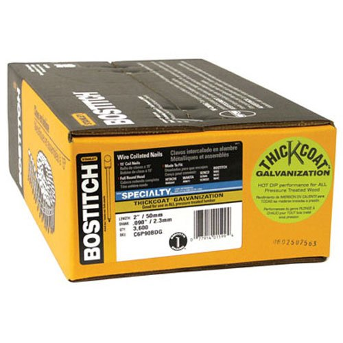 Bostitch C6P90BDG Thickcoat Round Head 2-Inch by .090-Inch 15 Degree Coil Framing Nail (3,600 per (Bostitch Round Head)