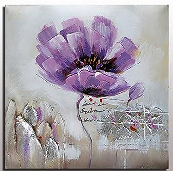 Violet Fleur Moderne Fleur Peinture Fleur Violette Faite à
