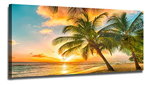Ardemy Canvas Wall Art Tropical Hawaii Island Beach Sunset Seascape Painting Prints One Panel Large Size Palm Tree Pictures Framed Ready to Hang for Living Room Bedroom Home Office Decor by Ardemy