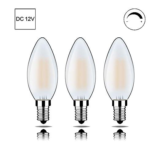 MEHRWEG C35J-12V-E14-6WMS - Bombilla LED (cristal opalino, intensidad