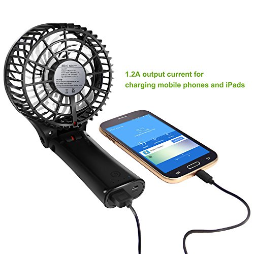 Fan BENGOO Foldable Persoanl Hand Handheld Portable USB Rechargeable Fan fwith Power Bank Feature for Home Office Outdoor Traveling Hiking Camping Use (Black) by BENGOO (Image #1)