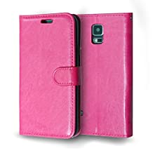 S5 Case, Asstar Galaxy S5 Wallet Case, [Stand Feature] Luxury Premium PU Wallet Leather Case [Card Slot] Flip Cover Protective Case For Samsung Galaxy S5 (Rose)