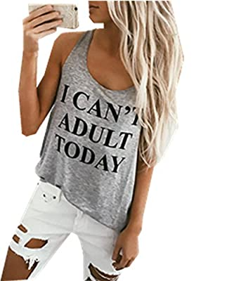 Happyear Women's Vest Top I Can't Adult Today Funny Tank Tops