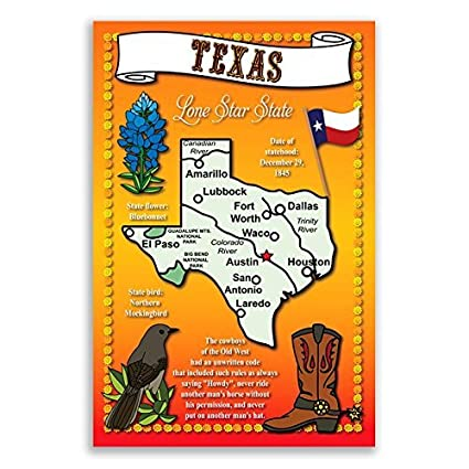 Texas On The Map Of Usa.Texas State Map Postcard Set Of 20 Identical Postcards Post Cards With Tx Map And State Symbols Made In Usa