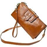 Bveyzi Women's Leather Smartphone Wristlet Clutch Wallet with Shoulder Strap (Tan)