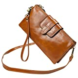 Bveyzi Women's Leather Smartphone Wristlet Clutch Wallet with Shoulder Strap (Tan)