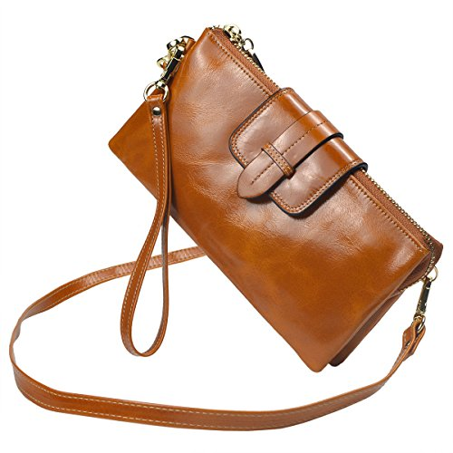 Bveyzi Women's Leather Smartphone Wristlet Clutch Wallet with Shoulder Strap (Tan) by Bveyzi