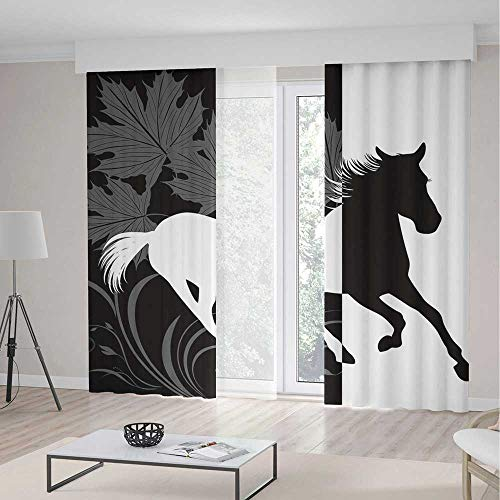 Blackout Curtains for Bedroom,Horse Decor,for Bedroom Living Dining Room Kids Youth Room,Silhouette of Mustang in Monochrome Abstract Framework Maple Leaves Sprigs Decorative2 Panel Set,103W X 94L Inc