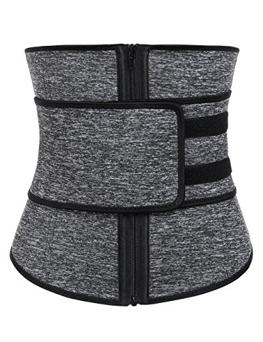 KINJOHI Women's Workout Waist Trainer Cincher Corset Slimming Sauna Sweat Belt Underbust 3XL Grey