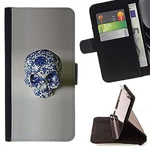 /Skull Market/ - PORCELAIN FLORAL DESIGN SKULL WHITE For HTC One M8 - Caja de la carpeta del tir???¡¯???€????€?????????&Ati