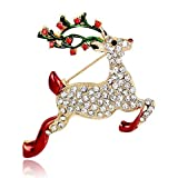 Christmas Deer Brooch Pin Women Crystal Brooches Jewelry Accessories NXZ02 (Colorful)