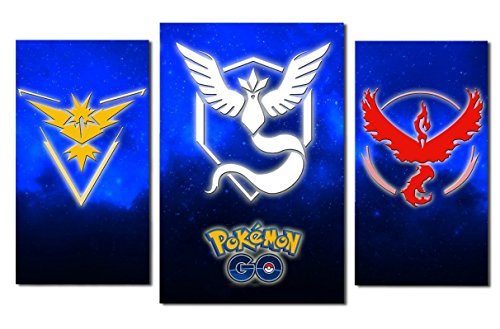 Price comparison product image Pokemon emblems design modular pictures painting wall art decor home room decoration canvas printed. Gift idea for youth and teens. (L)