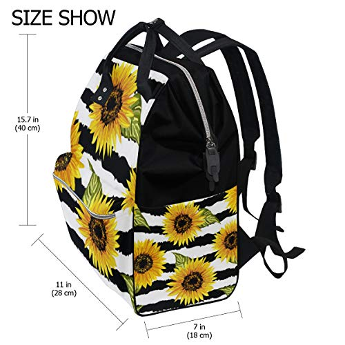 a7903f15ca76 TropicalLife Sunflower Flower Stripe Diaper Backpack Large Capacity Baby  Bags Multi-Function Zipper Casual Travel Backpacks for Mom Dad Unisex