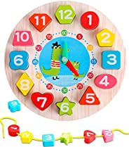 TOHIBEE Wooden Shape Sorting Clock – Teaching Time Number Color Blocks Shape Puzzles Stacking Sorter Jigsaw Mo