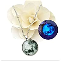 Grab Classy Green Metal Glow in Dark Moon Pendant/Necklace for Women, Girls and Children