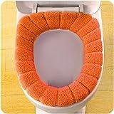 Toilet Seat Mat,by Vibola Pumpkin universal toilet seat pad Washable Bathroom Comfortable Velvet Coral Toilet Seat (Orange)