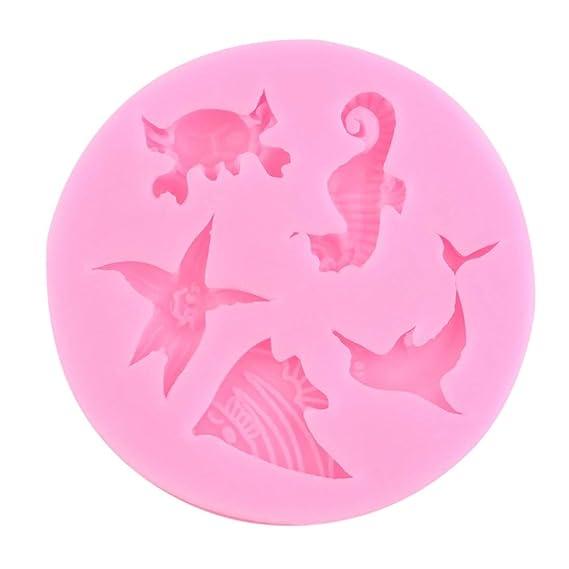 ToGames-ES Pink Dolphin Crab Starfish Seahorse Angel Fish Pastel de Silicona Chocolate Molde: Amazon.es: Juguetes y juegos
