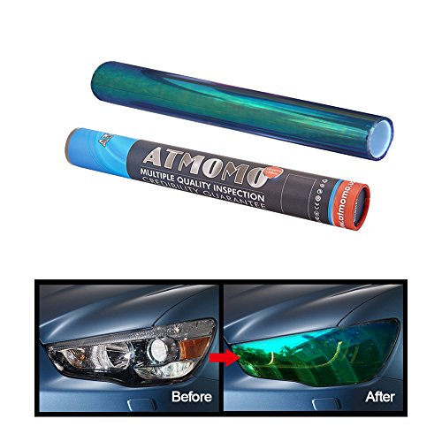 Lights Tint - ATMOMO BLUE 12 by 48 inches Self Adhesive Shiny Chameleon Headlights Films,Film Sheet Sticker,Tint Vinyl Film