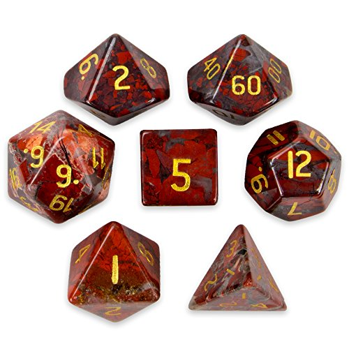 Set of 7 Handmade Stone 16mm Polyhedral Dice with Velvet Pouch by Wiz Dice - Choose From 12 Different Stones (Poppy Jasper)