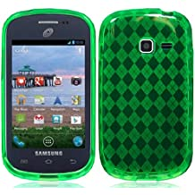 For Samsung Galaxy Centura S738c S730g S730m R740C Discover TPU Gel Skin Cover Case Green + Happy Face Phone Dust Plug