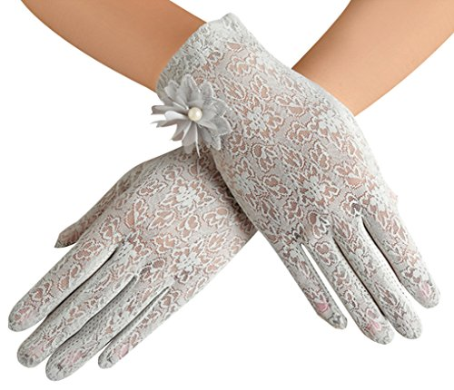 Women's Summer Screentouch Gloves Lace Anti-skid Outdoor Driving Gloves, Gray