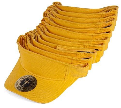TOP HEADWEAR Blank Adjustable Visors - 12-Pack - - Yellow Visor