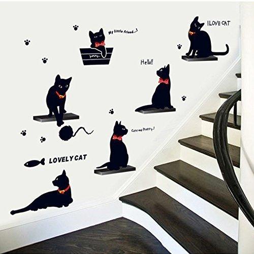 Fairyteller Cute Playing Cats Wall Stickers Kids Room Decor 7157  Home Decals Kitten Animals Mural Art Cartoon 3D Diy Pvc Zoo Poster 4 5