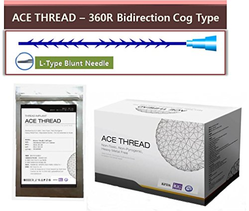 Ace Type - ACE PDO thread lift KOREA face/whole body - 360R Bidirection Cog Type/L-type Blunt Needle (20pcs) (19G100)