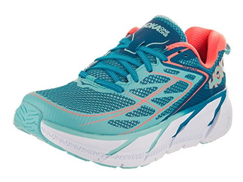 HOKA ONE ONE Women's Clifton 3 Road Running Shoe,Blue Jewel/Neon Coral,US 5 M