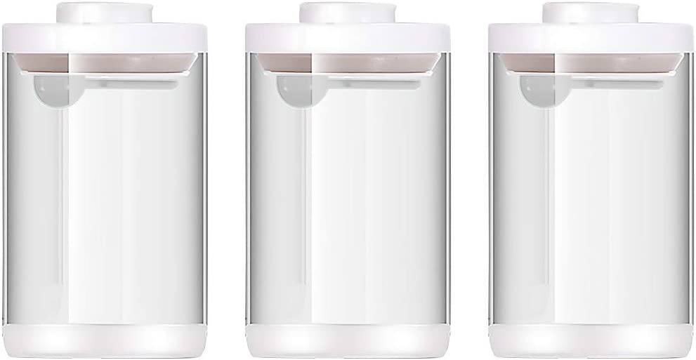 Vencer Set of 3 Sized 41 oz 1.2L Each, POP UP Glass Food Canister Set with Airtight Lids and Spoon,Equipped with anti-Slip Silicone Pad, Kitchen and Pantry Storages
