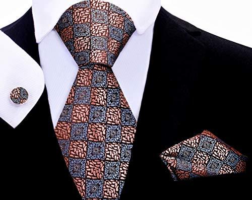 Twenty Dollar Tie Men's Ulysses Tie Pocket Square Cuff-links Set (Rose Gold)