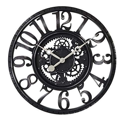CLG-FLY 22 Inch Guabiao Imitation Iron Mechanical Clock Retro Clock Gear Industry Other Black - Cream Wall Iron