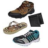 Earton Men's Combo Of 4 -2 Sports Shoes, 1 Slippper & Wallet -7 Uk