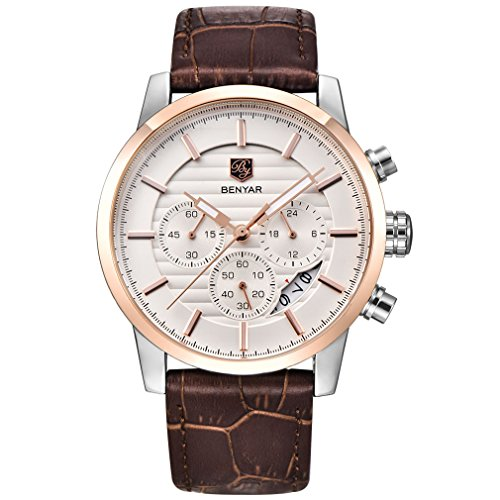 BENYAR Chronograph Waterproof Watches Business and Sport Design Brown Leather Band Strap Wrist Watch for Men (L Rose Gold White (Gold Gentlemans Wrist Watch)