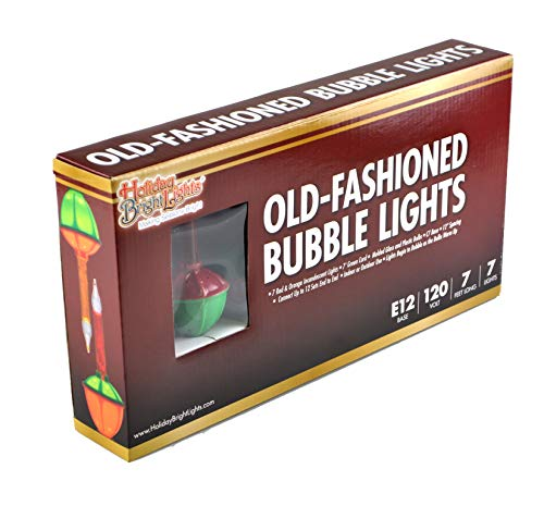 Holiday Bright Lights Christmas Bubble Light Set - Set of 7 - Christmas Bulbs Made of Glass - Perfect Christmas Decorations for Christmas Trees (Multicolor)