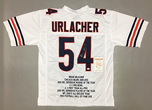 Brian Urlacher Autographed Jersey - STAT WITNESSED COA #WP954628 - JSA Certified - Autographed NFL Jerseys - Brian Urlacher Autographed Jersey