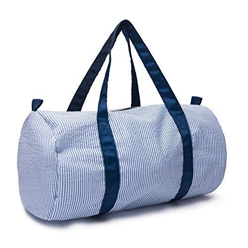 Children Shoulder Bag Pretty Excursion Handbag Tote Kids Carry-on Luggage Weekend Seersucker Travel Bag(Sea Blue)