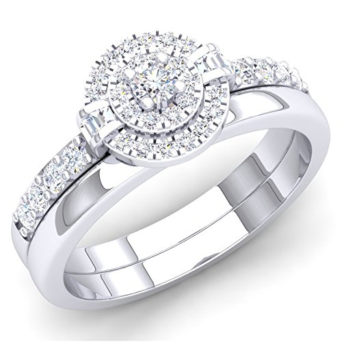 045-Carat-ctw-10K-Gold-Round-Baguette-White-Diamond-Ladies-Bridal-Halo-Engagement-Ring-Set-12-CT