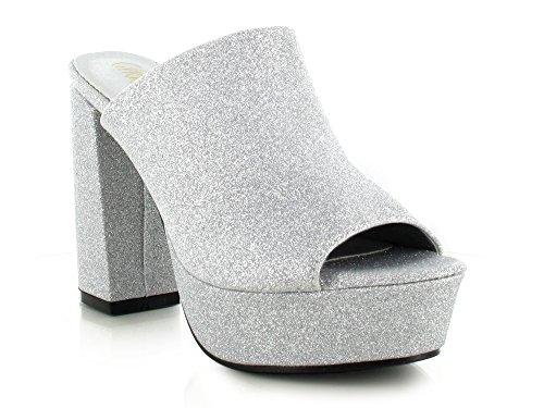 Peep Chockers Glitter Silver Toe Womens Shoes Platform On Velvet Glitter Suede Ladies Slip Sandal Mule Slider Block Heel 77BqrT
