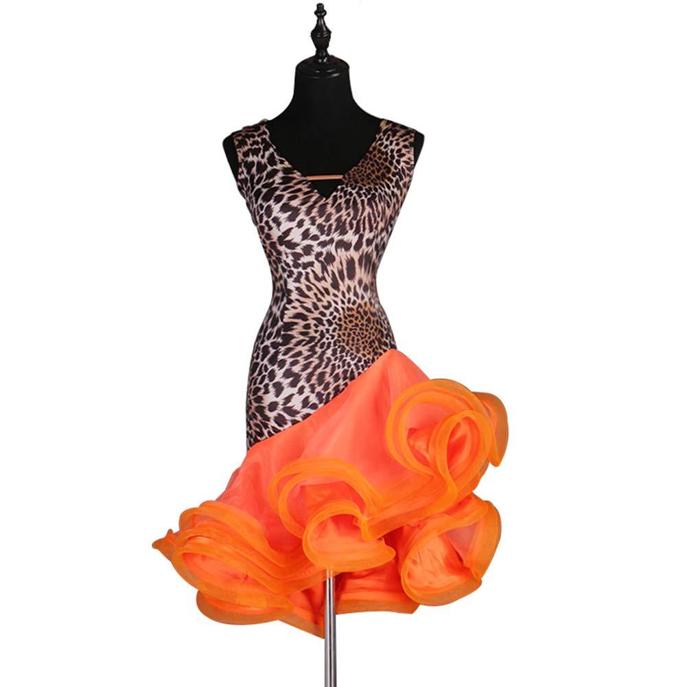 Orange XL WQWLF Robe de Danse Latine Sexy à col en V avec Grande Robe Swing Robe de Danse Latine