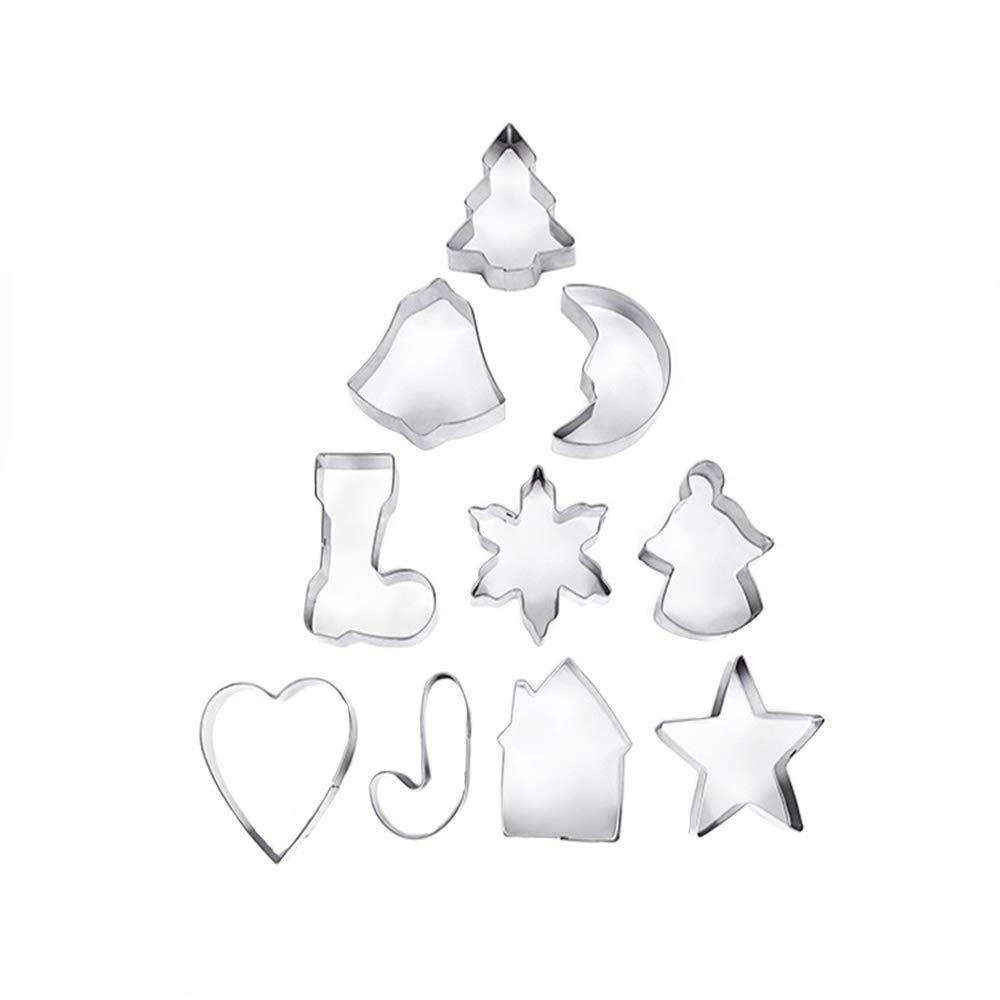 Ogquaton 10 Pieza Conjunto de Pastel de Navidad Molde de Galletas de Acero Inoxidable Cortadores de Galletas Fabricación de Cocina Herramientas de Cocina: ...