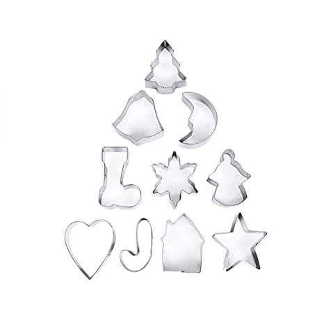 Ogquaton 10 Pieza Conjunto de Pastel de Navidad Molde de Galletas de Acero Inoxidable Cortadores de