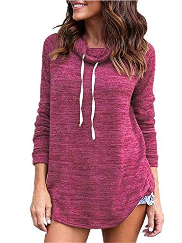 Leng Women Hoodies Long Sleeve Round Neck Hoodies Sweatshirt European Style Apparel Pullover Sudaderas Mujer RhodoX-Large