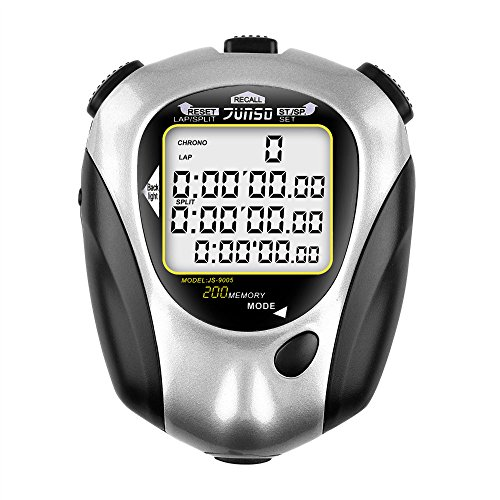 BizoeRade Sports Digital Stopwatch, 200 Lap Memory 3 Row Stopwatches Countdown Timer with Backlight, Clock, Metronome, Alarm, Professional for Marathon, Running, Swimming by BizoeRade