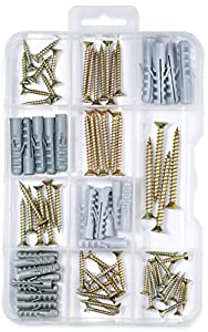 85-Pack Screw and Anchor Assortment Kit, Phillips Flat Head Screws,Picture Hangers, Drapery Rod Bracket, Drywall Anchors, High Value 85 Pieces.