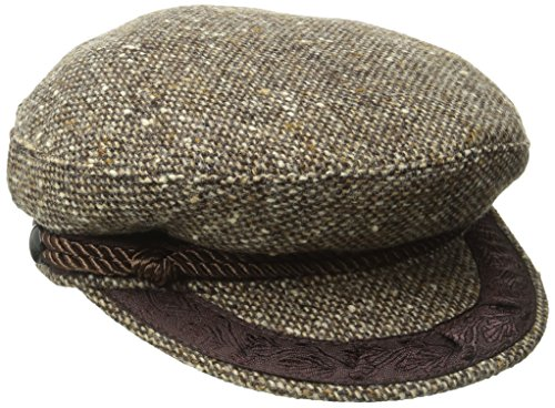 Aegean Women's Tweed Wool Greek Fisherman's Cap, Brown, Small