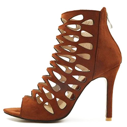 Taoffen Brown Toe Femmes Peep Sandales qv6g81qnf
