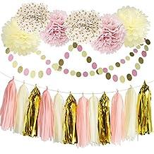 MS Pom Pom Pink Cream Glitter Gold Tissue Paper Pom Pom Paper Tassel Garland Polka Dot Tissue Poms for Girl Baby Shower Decorations Pink Gold Party Birthday Bridal Shower Decor Tissue